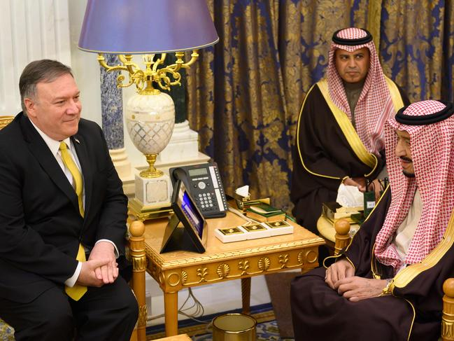 Saudi Arabia's King Salman bin Abdulaziz (R) meets with US Secretary of State Mike Pompeo. Picture: AFP