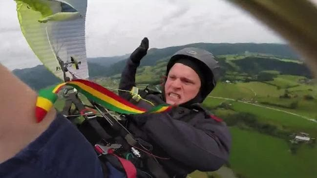 Paraglider gets chute tangled, goes into free fall: Video is