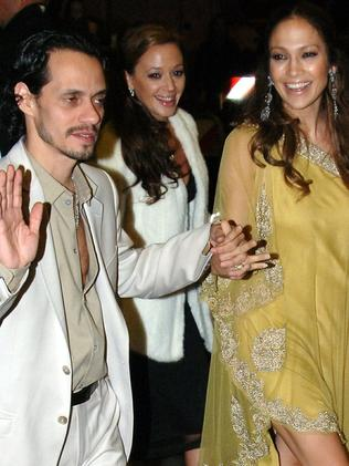 Guests ... Marc Anthony, Leah Remini and Jennifer Lopez after Tom Cruise and Katie Holmes wedding. Picture: Splash
