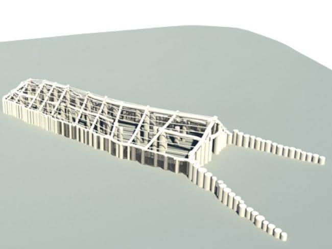 """Funeral factory ... A reconstruction of the timber """"Hall of the Dead"""" recently found near Stonehenge. Source: Stonehenge Hidden Landscapes Project"""