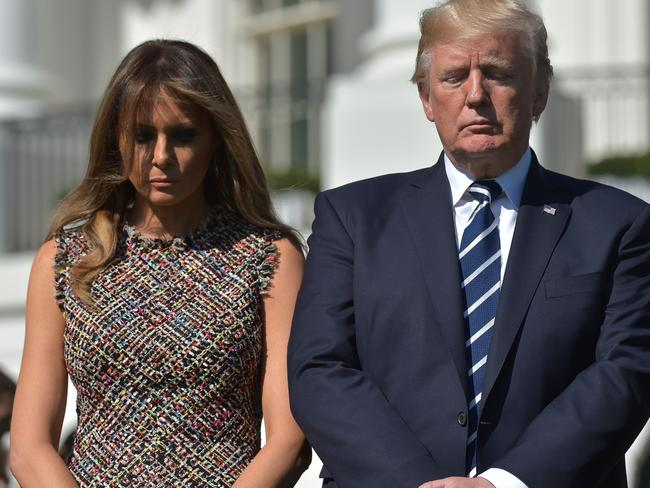 US President Donald Trump and First Lady Melania Trump take part in a moment of silence for the victims of the Las Vegas shootings. Picture: Mandel Ngan/AFP