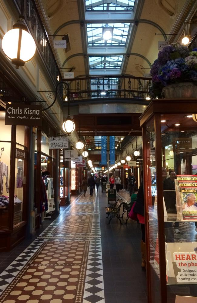 Adelaide Arcade had some shoppers walking its floors on Friday, but no ghosts were in sight. Francis Cluney's ghost has been apparently spotted on the upper level, where there are fewer shoppers.