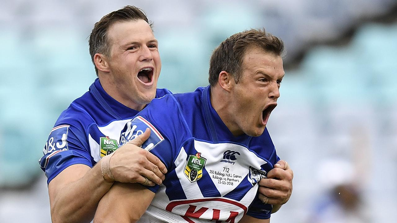 Josh Morris and brother Brett (left) are reunited in the NRL.