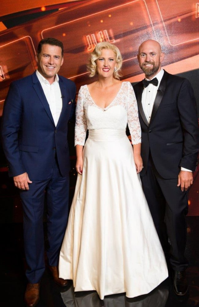 Host Karl Stefanovic, with Darren and Jennifer on 'This Time Next Year'.