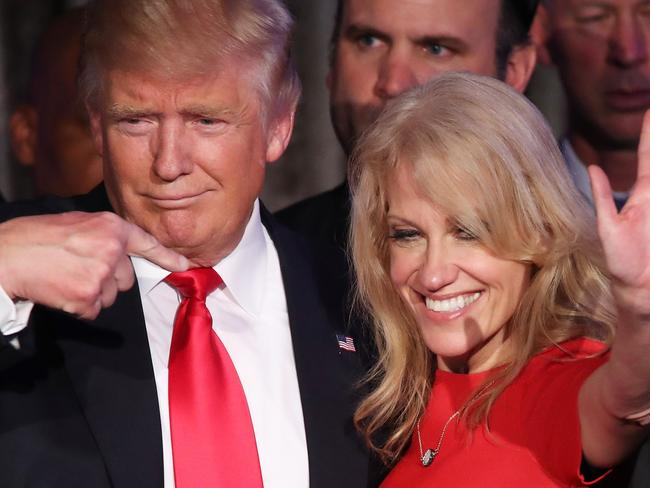 Mr Trump, along with his campaign manager Kellyanne Conway, claimed an incredible victory. Picture: Mark Wilson/Getty Images/AFP