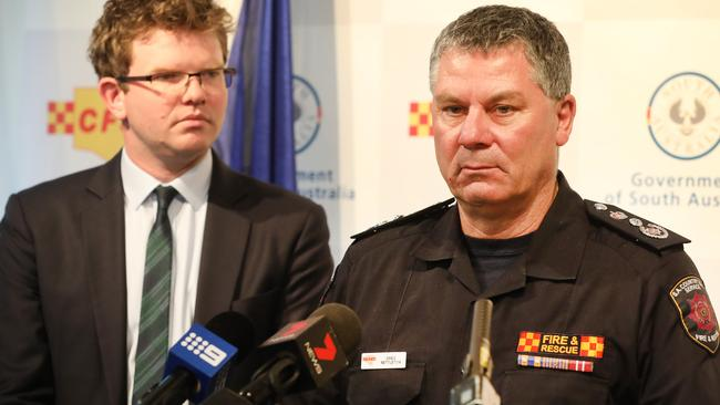 CFS Chief Officer Greg Nettleton addressed media about the major concerns in South Australia. Picture: AAP Image/Dean Martin
