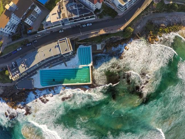 Bondi's much-photographed Icebergs as you've never seen it before. Picture: 3DR SOLO smart drone