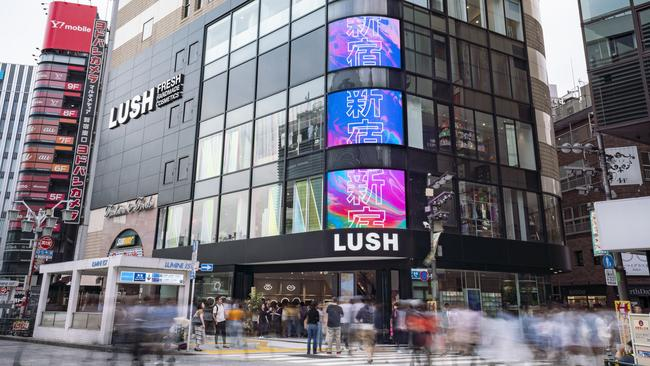 A world first has opened in Japan, Lush Shinjuku, a digital store that uses app technology to eliminate the need for price tags, signs and labels. Picture: Supplied