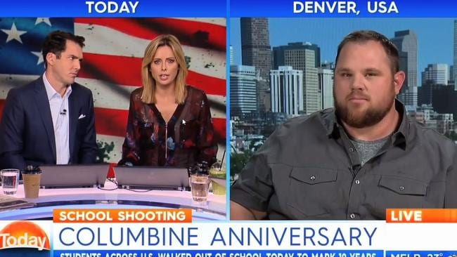 Columbine High School shooting survivor Evan Todd remained calm throughout an awkward interview with the Weekend Today Show. Picture: Channel 9