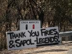 A sign of gratitude. An uplifting message on Kersbrook Rd for some of the heroes of the Sampson Flat fire. Picture: Tait Schmaal.