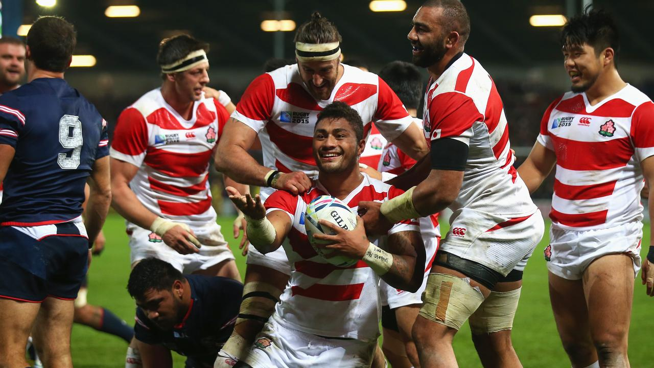 Amanaki Mafi of Japan celebrates scoring a try at the 2015 Rugby World Cup.