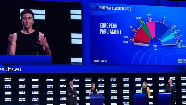 Top candidate of the European Green party Ska Keller (second left) gives a speech inside the hemicycle of the European Parliament during the European elections results night in Brussels. Picture: Emmanuel Dunand/AFP