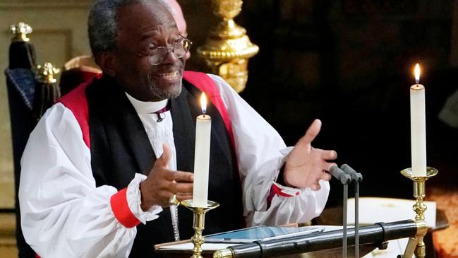 The Most Rev Bishop Michael Curry, primate of the Episcopal Church, gives an address during the wedding of Prince Harry and Meghan Markle in St George's Chapel at Windsor Castle. Picture: Owen Humphreys/Pool via REUTERS.