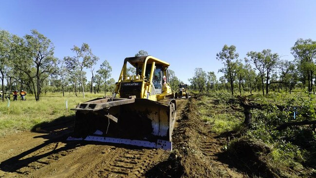 Image of construction work beginning on the Adani Carmichael mine site in Central Queensland.
