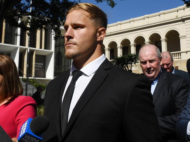 St. George Illawarra Dragons player Jack de Belin leaves Wollongong Local Court.