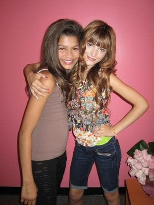 Thorne (right) with Zendaya on the Disney TV show Shake It Up!, which ran from 2010-2013.