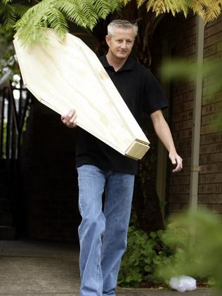 Local resident Sean Killgallon delivered a toddler-sized pine box coffin to the home where convicted paedophile Dennis Ferguson was living on parole.