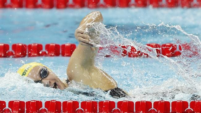 Ariarne Titmus powers her way to victory in the 400m freestyle. Picture: Getty Images