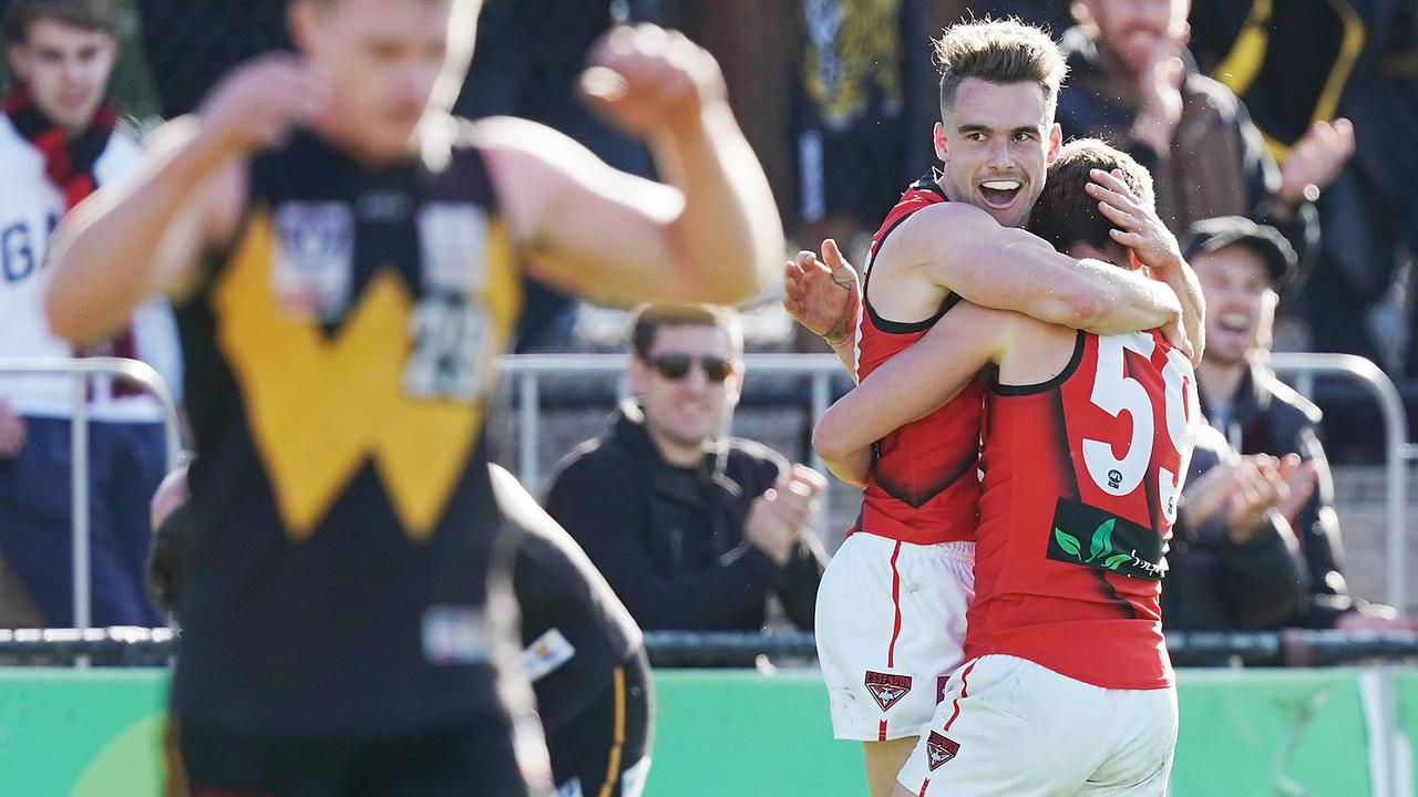 Will Snelling celebrates a goal against Werribee in the VFL.
