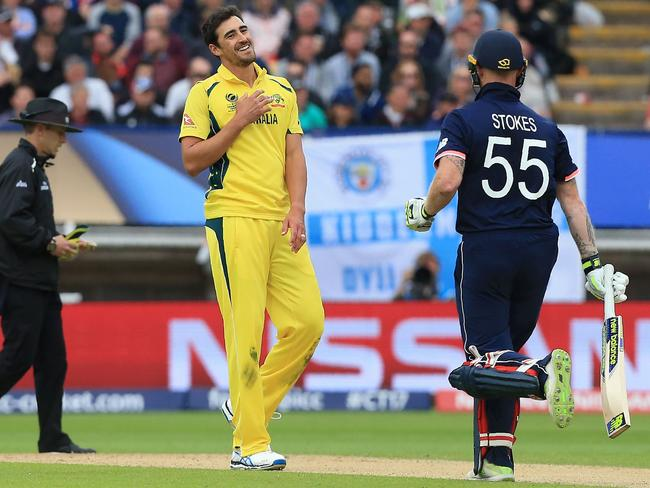 Mitchell Starc smiles as England's Ben Stokes takes a run at the Champions Trophy.