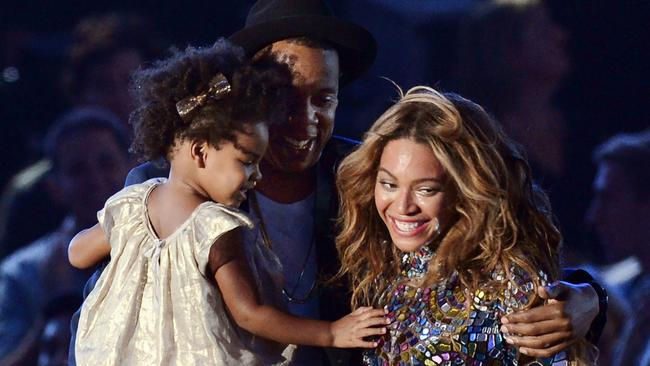 Beyonce with husband Jay Z and daughter Blue Ivy in 2014. Picture: AFP