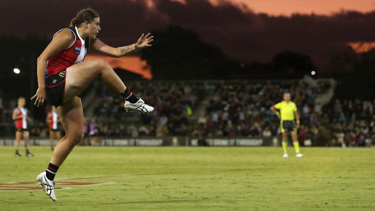 Caitlin Greiser's booming late goal gave St Kilda a stunning AFLW upset win over Melbourne. (Photo by Dylan Burns/AFL Photos via Getty Images)