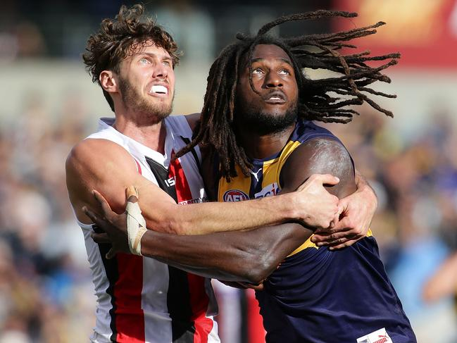 Tom Hickey will no longer have to wrestle with Nic Naitanui, except at training. (Photo by Will Russell/AFL Media/Getty Images)