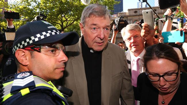 George Pell, once the third most powerful man in the Vatican and Australia's most senior Catholic, was found guilty on five counts of child sexual assault. Picture: Getty