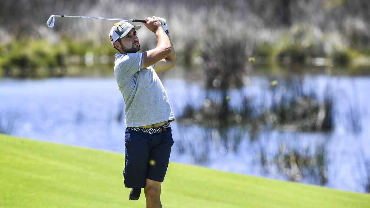 Amputee golfer Juan Postigo during the practice session for the 2018 Emirates Australian Open. Picture: AAP