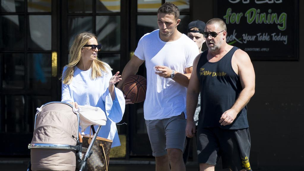 Phoebe and Sam Burgess with Russell Crowe. Picture: Matrix Media