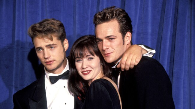 Luke Perry with Jason Priestley and Shannon Doherty at the height of their 90210 fame. Source: Getty Images