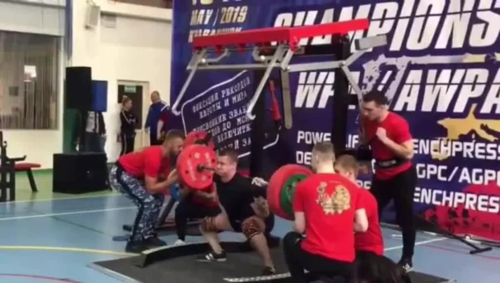 Russian powerlifter Yaroslav Radoshkevich attempts to lift 250kg, moments before his right leg is broken in three places.