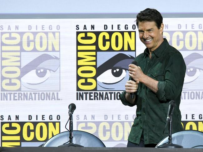 Tom Cruise speaks at the Top Gun: Maverick panel during 2019 Comic-Con International at San Diego Convention Centre. Picture: Getty