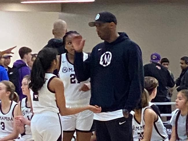 This photo was taken on the weekend at Bryant's Mamba Sports Academy in Thousand Oaks, where Gianna's Mamba Lady Mavericks were playing. Ever the mentor, Bryant was happy to pass on tips.