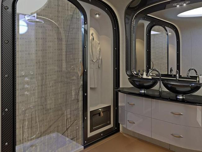 The private jet has a roomy shower room that allows passengers to freshen up.