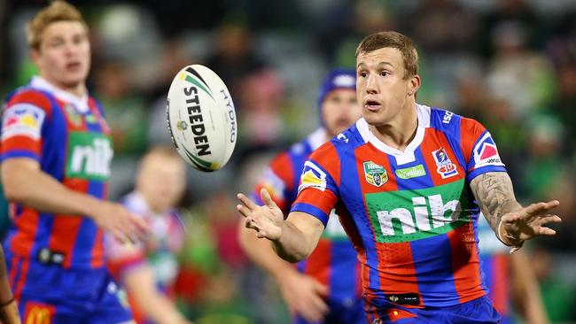 Trent Hodkinson of the Knights in action in the 2017 season
