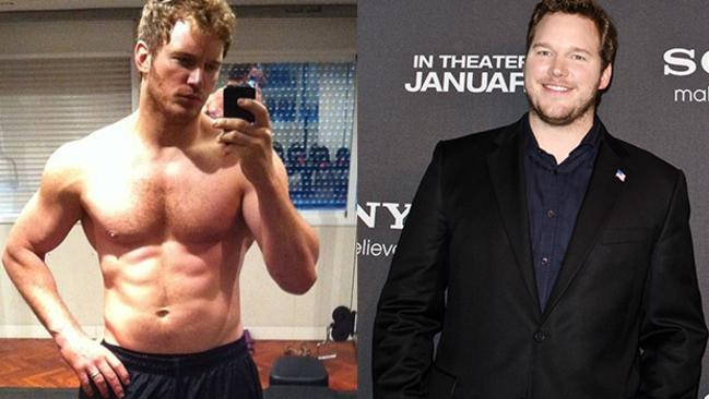 Before and after ... A superhuman effort by Chris Pratt. Picture: Instagram/Getty