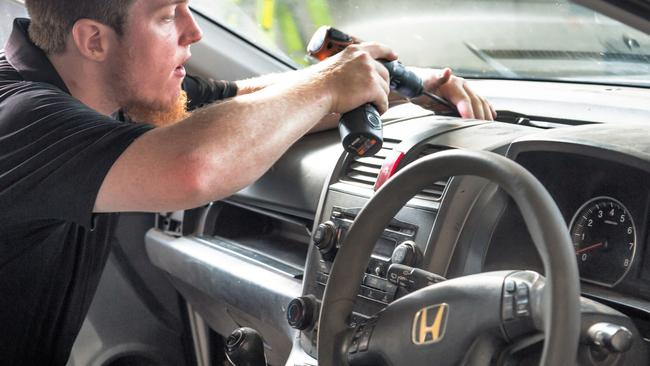 A Honda technician fixes a faulty airbag. Picture: Supplied.