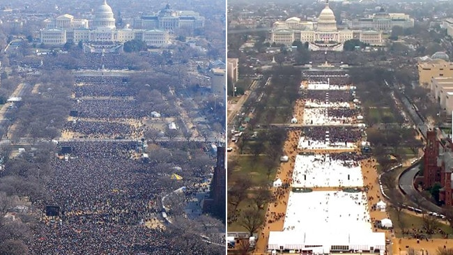 On the left is Mr Obama's first inauguration. On the right is Mr Trump's. Pics: Getty/AFP, Inaugural Committee