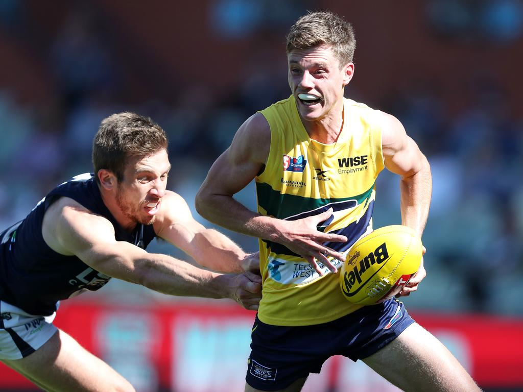 Eagles defender Jacob Wehr averaged 16.4 disposals, 5.0 rebound 50s and 3.7 intercepts in 2020. Picture: Sarah Reed