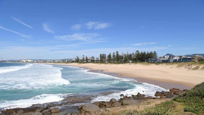 Closed … Wollongong beach today. Picture: Simon Bullard/AAP