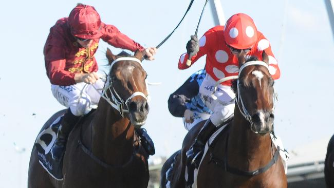 Sandbar (right) edged out Charge to win The Rosebud. Picture: AAP