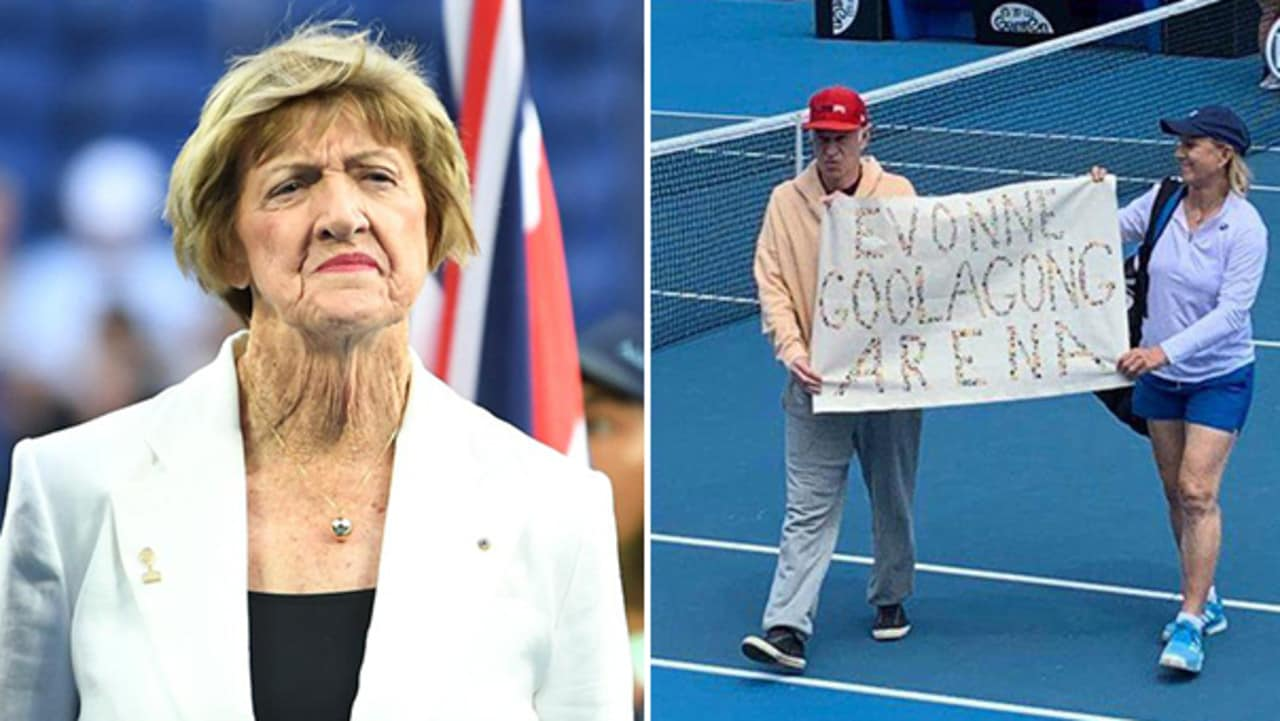 Margaret Court plus John McEnroe and Martina Navratilova performing their protest.