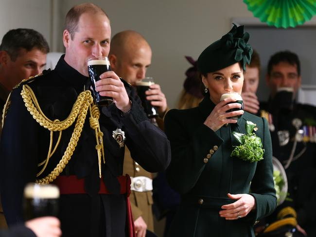 Kate and Will enjoy a pint together. Picture: Getty