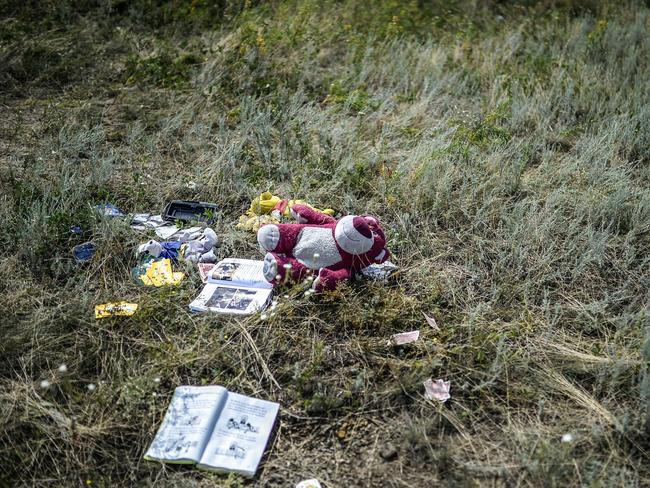 Personal belongings ... stuffed animals and books at the crash site of the Malaysia Airlines Flight MH17 near the village of Hrabove (Grabovo), some 80km east of Donetsk. Picture: Bulent Kilic