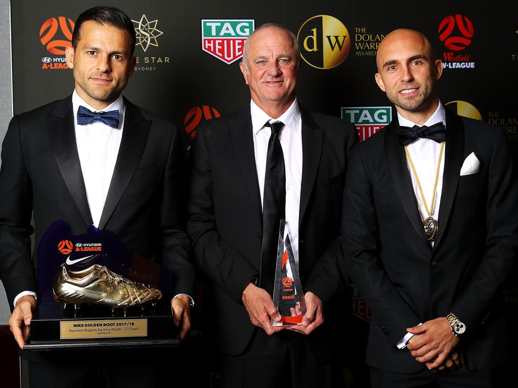 Bobo and Adrian Mierzejewski with former Sydney FC boss Graham. Picture: Getty Images
