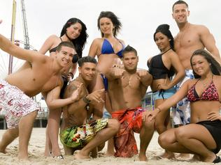 Housemates (back L-R) Angelina, Jwoww, Nicole 'Snooki' Polizzi and Mike 'The Situation' Sorrentino, (front L-R) Vinny, Pauly D, Ronnie and Sammi from the MTV reality TV program 'Jersey Shore'.