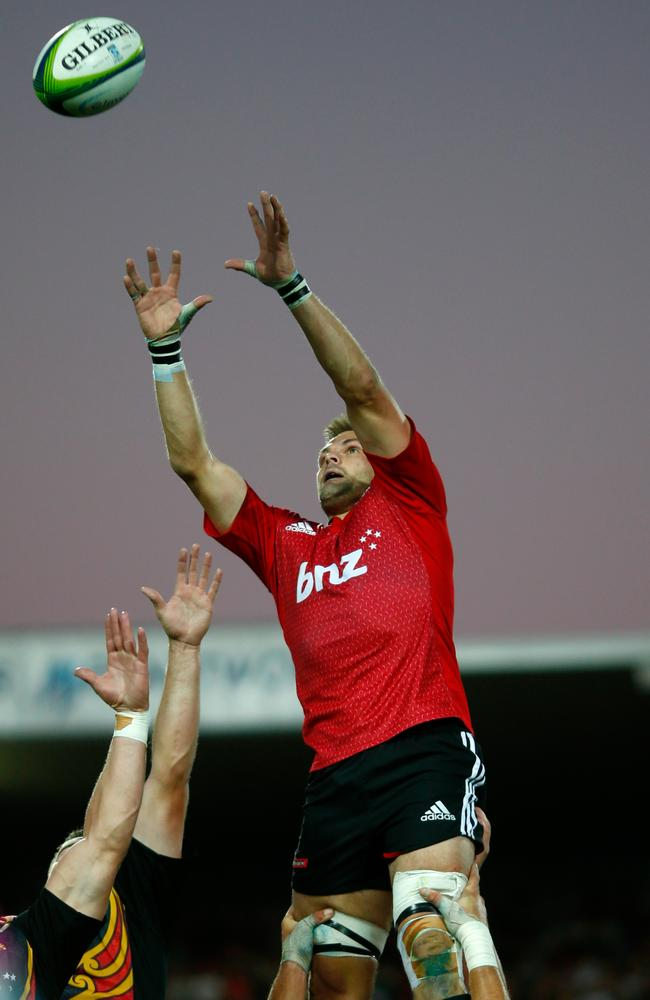 Richie McCaw of the Crusaders takes the ball in the lineout.
