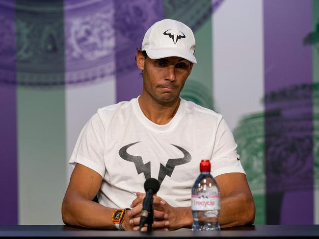 Spain's Rafael Nadal speaks during a press conference. (Photo by Adam WARNER / various sources / AFP)