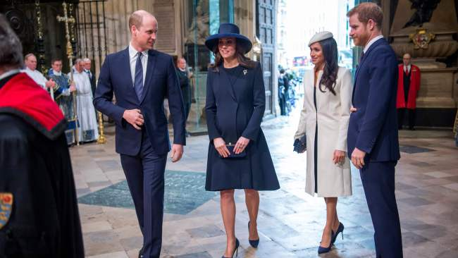 Prince William, Kate Middleton, Meghan Markle and Prince Harry attend a Commonwealth Day Service at Westminster Abbey. Photo: AFP/POOL/Paul Grover
